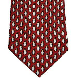NWT Tommy Hilfiger Red Penguin Tie 100% Silk